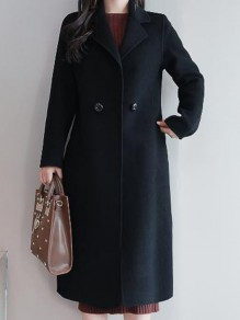 Black Button Pocket Turndown Collar Long Sleeve Elegant Wool Coat