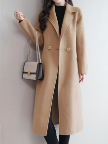 Camel Button Pocket Turndown Collar Long Sleeve Elegant Wool Coat