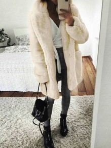 White Faux Fur Pocket Turndown Collar Long Sleeve Elegant Outerwear