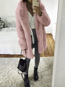 Pink Grey Faux Fur Turndown Collar Long Sleeve Elegant Outerwear