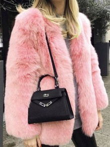 Rosa Faux Fur Langarm Warme Fellimitat Dicke Pelzmantel Wintermantel Damen Mode