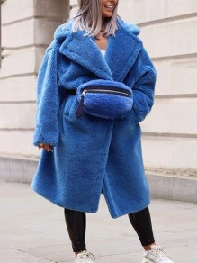 Blue Pockets Turndown Collar Long Sleeve Oversize Fashion Teddy Coat