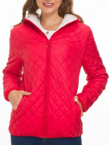 Red Pocket Zipper Hooded Long Sleeve Fashion Padded Coat