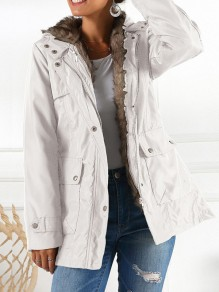 White Pocket Zipper Hooded Long Sleeve Fashion Padded Coat