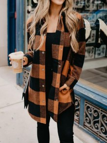 Brown-Black Plaid Pockets Irregular Single Breasted Turndown Collar Casual Coat