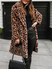 Brown Leopard Pockets Buttons Turndown Collar Long Sleeve Oversize Coat