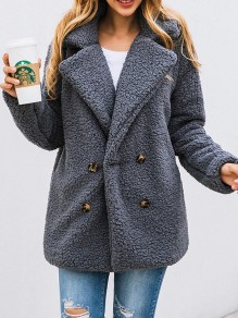 Dark Grey Button Turndown Collar Long Sleeve Oversize Fashion Teddy Coat