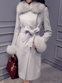 Grey Fur Sashe Turndown Collar Long Sleeve Elegant Wool Coat