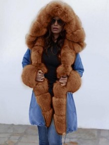 Coffee-Blue Patchwork Faux Fur Bubble Hooded Pockets Long Sleeve Fatigue Parka Coat