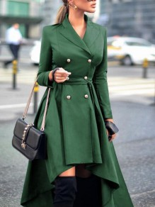Green Irregular Double Breasted Sashes Swallowtail High-low Turndown Collar Elegant Trench Coat