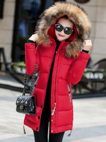 Red Pocket Fur Zipper Hooded Long Sleeve Fashion Padded Coat