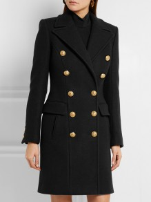 Black Patchwork Buttons Pockets Skirted Peacoat Turndown Collar Fashion Outerwear