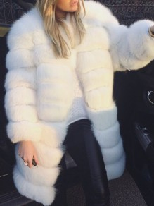 White Faux Fur Round Neck Long Sleeve Elegant Long Outerwear