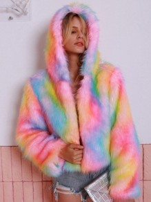 Pink Tie Dye Colorful Faux Fur Long Sleeve Hooded Coat