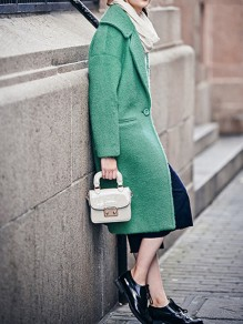 Green Button Pocket Turndown Collar Long Sleeve Elegant Wool Coat