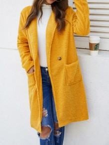 Yellow Button Pocket Turndown Collar Long Sleeve Elegant Wool Coat