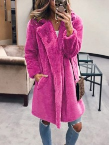 Rose Carmine Faux Fur Oversized Long Sleeve Elegant Outerwear Coat
