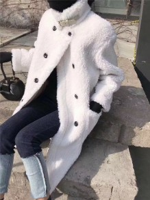 White Double Breasted Faux Fur Pockets Turndown Collar Long Sleeve Oversize Teddy Coat