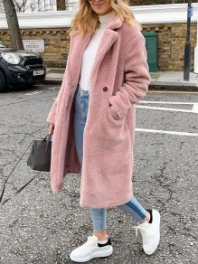 Pink Buttons Pockets Turndown Collar Long Sleeve Oversize Teddy Coat