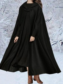 Black Lace-up Flowy Elegant Vintage Hooded Long Cape Coat