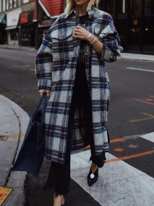 Blue Plaid Single Breasted Pockets Turndown Collar Long Sleeve Wool Coat
