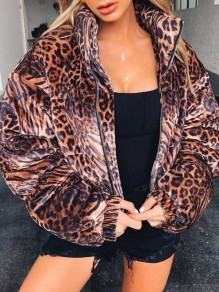 Brown Leopard Print Zipper Band Collar Long Sleeve Padded Coat