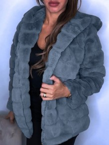 Grau Faux Fur Mit Kapuze Langarm Warme Fellimitat Pelzmantel Wintermantel Damen Mode