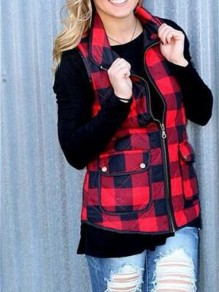 Red-Black Plaid Pockets Zipper High Neck Sleeveless Christmas Vest Outerwear Coat