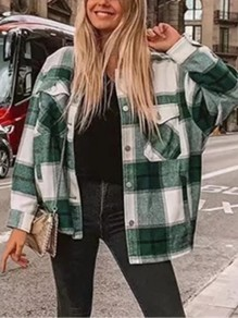 Green Plaid Check Pockets Buttons Turndown Collar Oversize Blouse Shirt Jacket Lumberjack Jacket