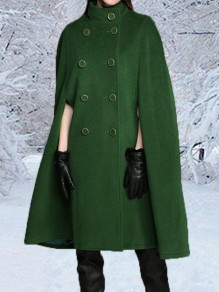 Green Double Breasted Band Collar Elegant Cape Wool Coat