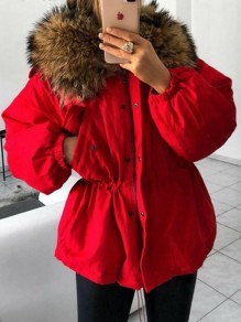 Red Pockets Drawstring Zipper Faux Fur Hooded Long Sleeve Padded Coat