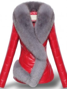 Red Patchwork Fox Fur Long Sleeve Fashion Padded Coat