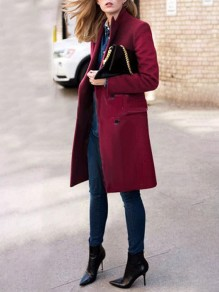 Burgundy Turndown Collar Pockets Double Breasted Long Sleeve Long Coat