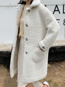 White Pockets Buttons Turndown Collar Long Sleeve Fashion Lambswool Coat