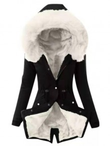 Black-White Patchwork Faux Fur Drawstring Single Breasted Hooded Fatigue Parka Coat