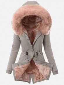 Grey-Pink Patchwork Faux Fur Drawstring Single Breasted Hooded Fatigue Parka Coat