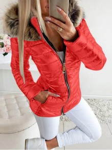 Red Patchwork Faux Fur Bright Leather Plus Size Hooded Fatigue Parka Coat