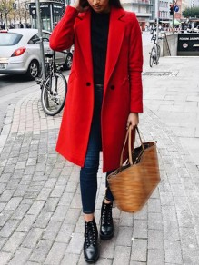 Red Patchwork Buttons Pockets Turndown Collar Long Sleeve Fashion Outerwear