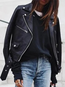 Black Patchwork Pockets Zipper PU Leather Turndown Collar Long Sleeve Fashion Outerwear