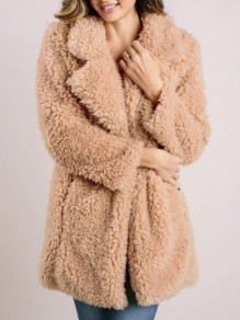 Khaki Pockets Turndown Collar Fuzzy Teddy Cardigan Outerwear Coat