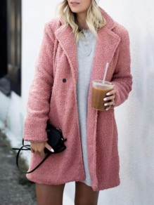 Pink Pockets Buttons Turndown Collar Long Sleeve Oversize Teddy Coat