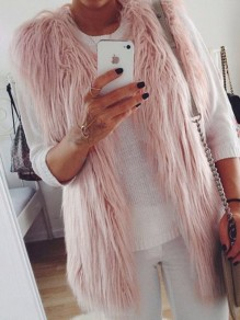 Pink Patchwork Faux Fur Comfy V-neck Sleeveless Fashion Cardigan Vest Coat