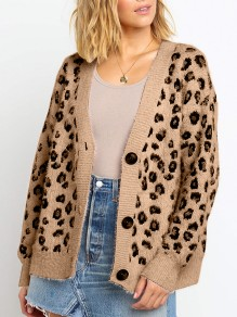 Khaki Leopard Buttons V-neck Long Sleeve Fashion Mohair Cardigan Sweater