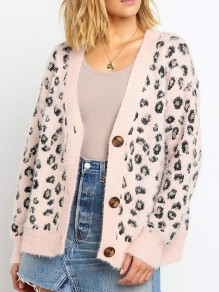 Pink Leopard Buttons V-neck Long Sleeve Fashion Mohair Cardigan Sweater