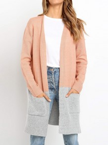 Cardigan poches manches longues oversize gris rose