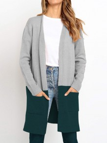 Cardigan poches manches longues oversize gris vert