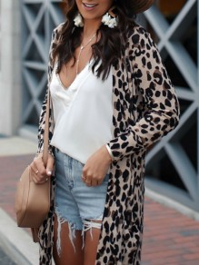 Khaki Leopard V-neck Long Sleeve Fashion Cardigan Sweater