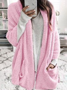 Pink Patchwork V-neck Long Sleeve Fashion Cardigan Sweater