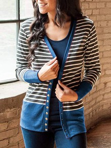 Blue Striped Single Breasted V-neck Long Sleeve Fashion Cardigan Sweater