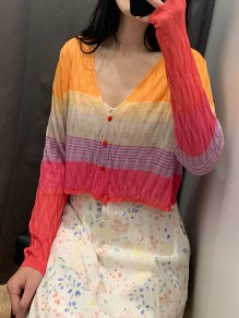 Red Colorful Print Rainbow Striped Single Breasted Long Sleeve V-neck Casual Sweater Cardigan